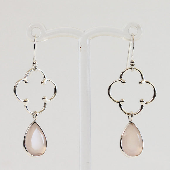 100% 925 Solid Sterling Silver Semi-Precious Pink Rose Quartz Natural Stone Earrings - Cherish Me Jewellery - Melbourne Australia