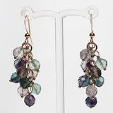 18K Gold Semi-Precious Purple & Green Fluorite Natural Stone Cluster Earrings - Cherish Me Jewellery - Melbourne Australia
