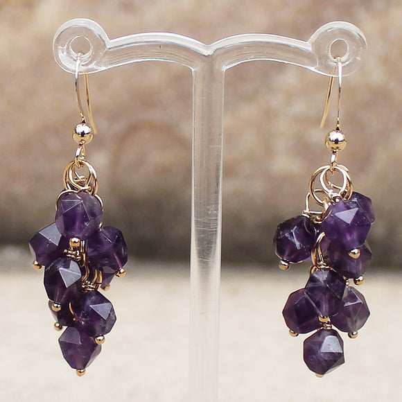 18K Gold Semi-Precious Purple Amethyst Natural Stone Cluster Earrings - Cherish Me Jewellery - Melbourne Australia