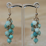 18K Gold Semi-Precious Blue Amazonite Natural Stone Cluster Earrings - Cherish Me Jewellery - Melbourne Australia
