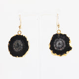 Semi-Precious 18K Gold Druzy Agate Black Stone Earrings - Cherish Me Jewellery - Melbourne Australia