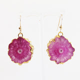 Semi-Precious 18K Gold Druzy Agate Pink Stone Earrings - Cherish Me Jewellery - Melbourne Australia