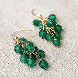 18K Gold Semi-Precious Green Onyx Natural Stone Cluster Earrings - Cherish Me Jewellery - Melbourne Australia