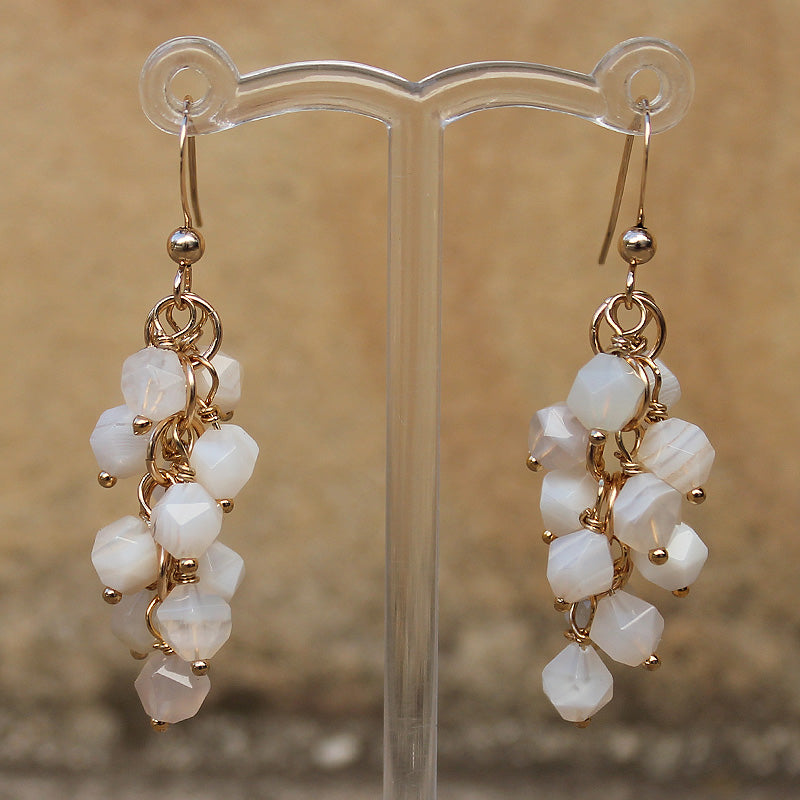 18K Gold Semi-Precious Rainbow Moonstone Natural Stone Cluster Earrings - Cherish Me Jewellery - Melbourne Australia