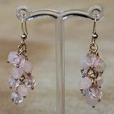 18K Gold Semi-Precious Pink Rose Quartz Natural Stone Cluster Earrings - Cherish Me Jewellery - Melbourne Australia