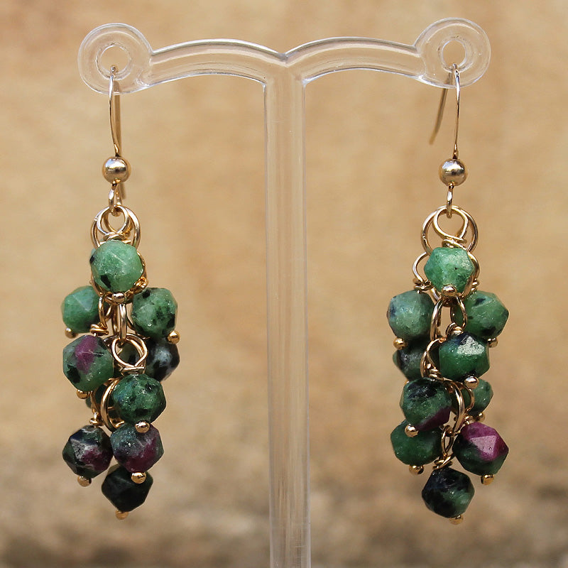 18K Gold Semi-Precious Green & Red Ruby Zoiste Natural Stone Cluster Earrings - Cherish Me Jewellery - Melbourne Australia