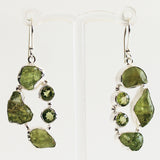 100% 925 Solid Sterling Silver Rough Cut Green Peridot Semi-Precious Natural Multi-Stone Drop Earrings - Cherish Me Jewellery - Melbourne Australia