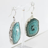 Semi-Precious Silver Druzy Agate Light Blue Stone Earrings - Cherish Me Jewellery - Melbourne Australia