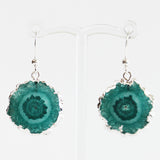 Semi-Precious Silver Druzy Agate Green Stone Earrings - Cherish Me Jewellery - Melbourne Australia
