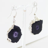 Semi-Precious Silver Druzy Agate Purple Stone Earrings - Cherish Me Jewellery - Melbourne Australia