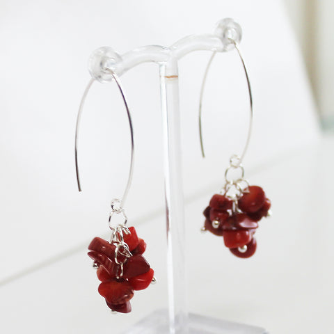 100% 925 Solid Sterling Silver Semi-Precious Red Coral Cluster Natural Stone Earrings - Cherish Me Jewellery - Melbourne Australia