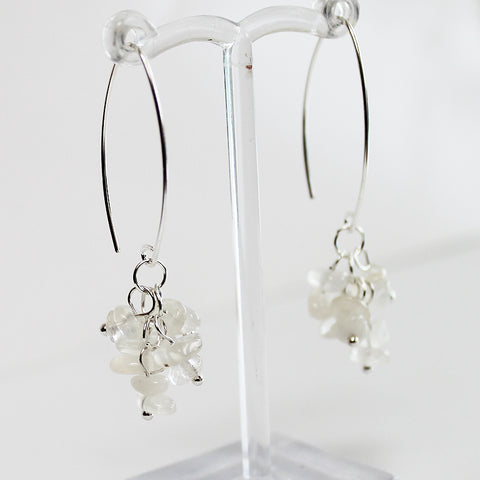 100% 925 Solid Sterling Silver Semi-Precious Rainbow Moonstone Cluster Natural Stone Earrings - Cherish Me Jewellery - Melbourne Australia