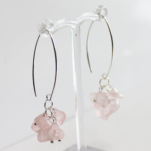 100% 925 Solid Sterling Silver Semi-Precious Pink Rose Quartz Cluster Natural Stone Earrings - Cherish Me Jewellery - Melbourne Australia