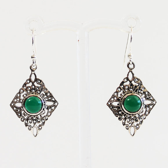 100% 925 Solid Sterling Silver Semi-Precious Green Onyx Natural Stone Earrings - Cherish Me Jewellery - Melbourne Australia