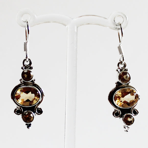 100% 925 Solid Sterling Silver Semi-Precious Yellow Citrine Natural Stone Earrings