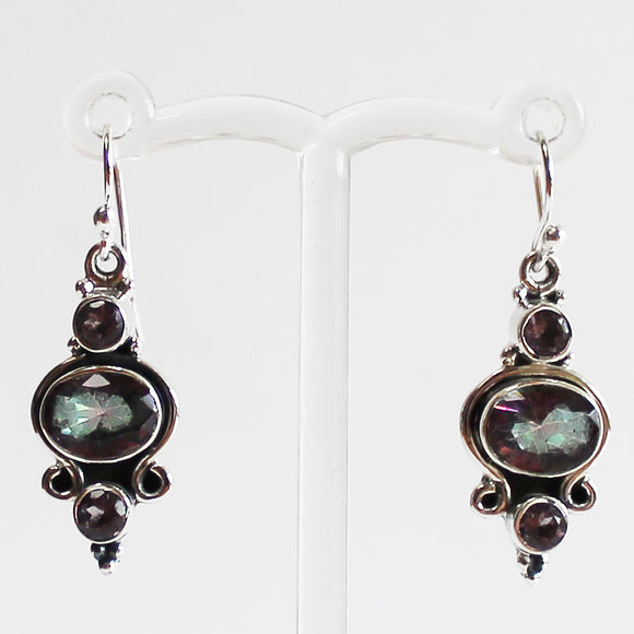 100% 925 Solid Sterling Silver Semi-Precious Mystic Topaz & Amethyst Natural Stone Earrings