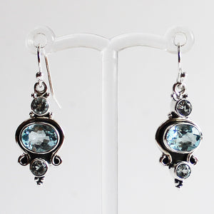 100% 925 Solid Sterling Silver Semi-Precious Blue Topaz Natural Stone Earrings