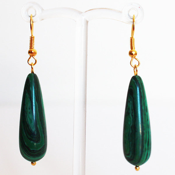 Earrings - Silver or Gold Teardrop Shaped Semi Precious Green Malachite Stone - Cherish Me Jewellery - Melbourne Australia