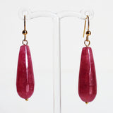 Earrings - Teardrop Shaped Semi Precious Dyed Red Jade Stone - Cherish Me Jewellery - Melbourne Australia