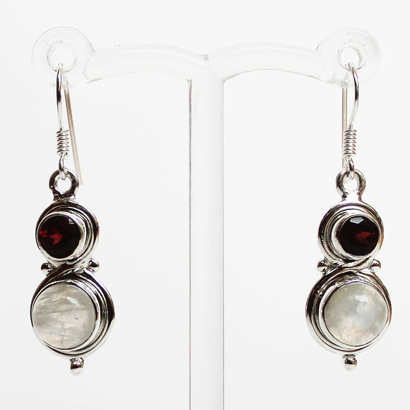 100% 925 Solid Sterling Silver Semi-Precious Red Garnet & Rainbow Moonstone Natural Stone Earrings - Cherish Me Jewellery - Melbourne Australia