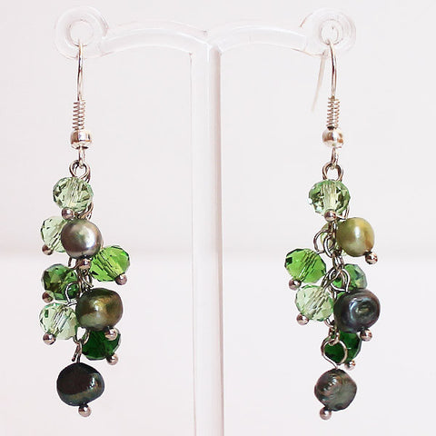 Earrings - Delicate Green Pearl & Crystal Drop - Cherish Me Jewellery - Melbourne Australia