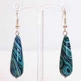 Earrings - Silver or Gold Teardrop Shaped Semi Precious Blue Malachite Stone - Cherish Me Jewellery - Melbourne Australia