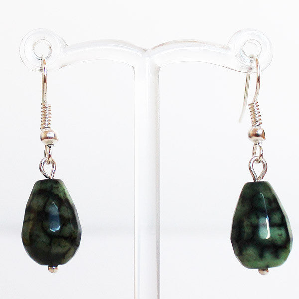 Earrings - Silver or Gold Teardrop Shaped Semi Precious Green Dragons Vein Agate Stone - Cherish Me Jewellery - Melbourne Australia