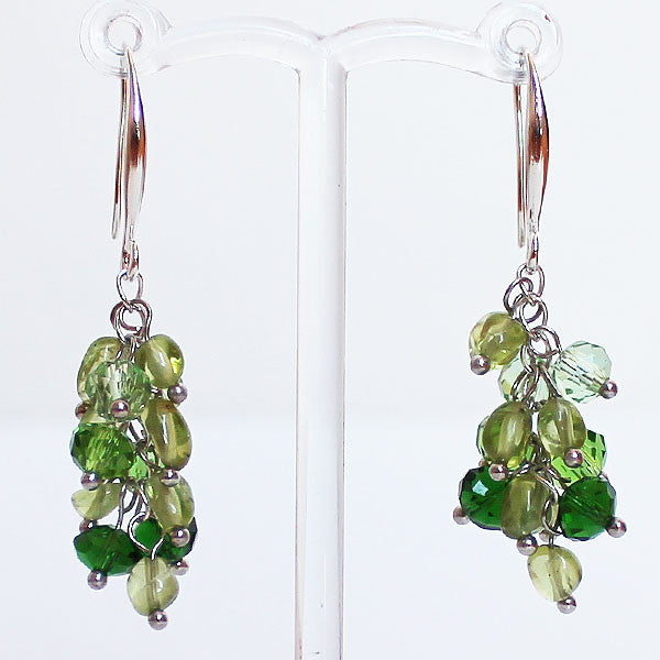 Earrings - Delicate Green Peridot Semi Precious Stone & Crystal Drop - Cherish Me Jewellery - Melbourne Australia