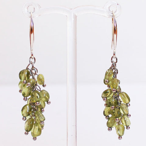 Earrings - Delicate Green Peridot Drop Semi Precious Stone - Cherish Me Jewellery - Melbourne Australia