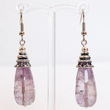 Earrings - Silver or Gold Teardrop Shaped Semi Precious Faceted Purple Amethyst Natural Stone - Cherish Me Jewellery - Melbourne Australia