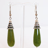 Earrings - Silver or Gold Teardrop Shaped Semi Precious Dyed Green Jade Stone - Cherish Me Jewellery - Melbourne Australia