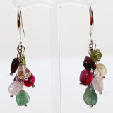 87cm Delicate Multi-Colour Gemstone Long Silver Necklace with matching earrings - Cherish Me Jewellery - Melbourne Australia