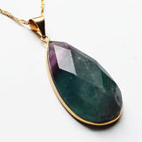 24K Gold Semi-Precious Natural Stone Chunky Faceted Fluorite Teardrop Pendant - Cherish Me Jewellery - Melbourne Australia