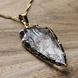 24K Gold Semi-Precious Natural Stone Rough Clear Quartz Arrowhead Pendant - Large - Cherish Me Jewellery - Melbourne Australia