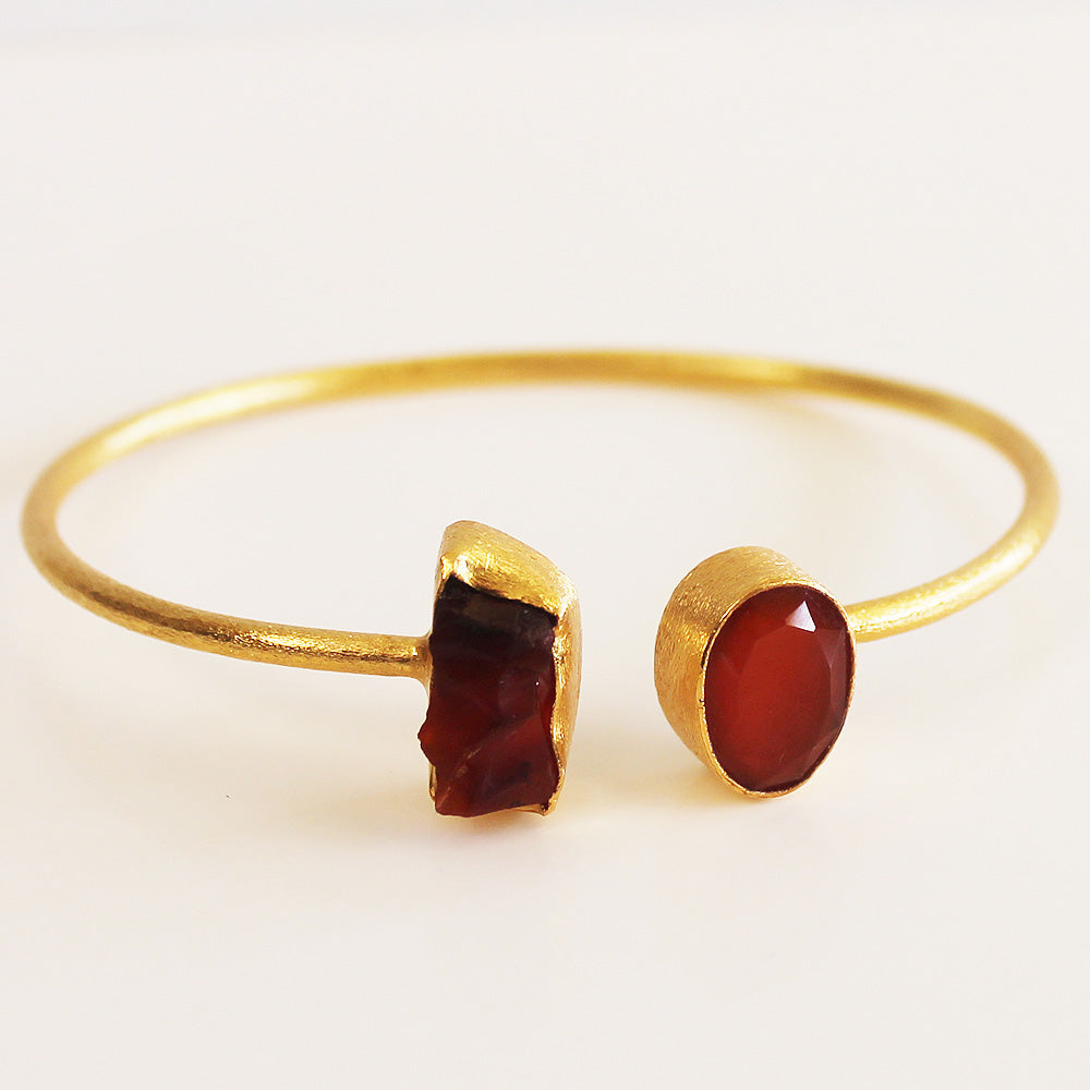 24ct Gold Plated Semi Precious Stone Rough and Faceted Red Carnelian Bracelet - Cherish Me Jewellery - Melbourne Australia