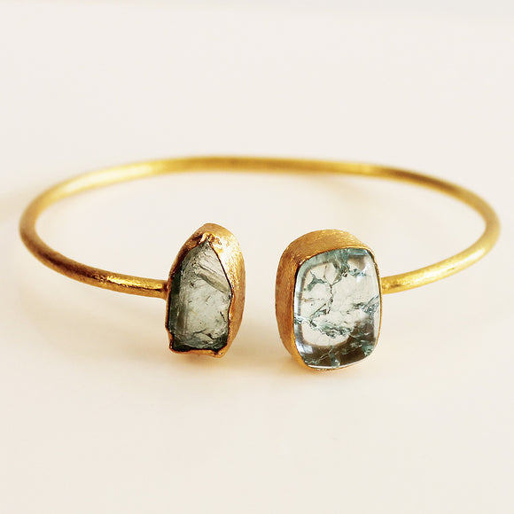 24ct Gold Plated Semi Precious Stone Rough Aquamarine and Snakeskin Jasper Bracelet - Cherish Me Jewellery - Melbourne Australia