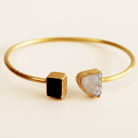 24ct Gold Plated Semi Precious Stone Rough Moonstone and Rough Black Agate Bracelet - Cherish Me Jewellery - Melbourne Australia