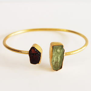 24ct Gold Plated Semi Precious Stone Rough Green Kyanite and Red Garnet Bracelet - Cherish Me Jewellery - Melbourne Australia