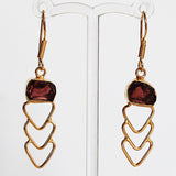 24ct Gold Plated Semi Precious Rough Cut Red Garnet Stone Drop Earrings - Cherish Me Jewellery - Melbourne Australia