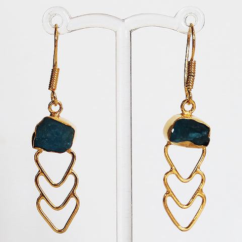 24ct Gold Plated Semi Precious Rough Cut Blue Apatite Stone Drop Earrings - Cherish Me Jewellery - Melbourne Australia