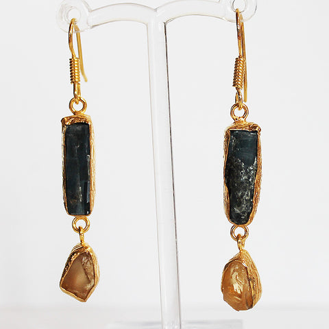 24ct Gold Plated Semi Precious Rough Cut Blue Kyanite and Yellow Citrine Stone Drop Earrings - Cherish Me Jewellery - Melbourne Australia