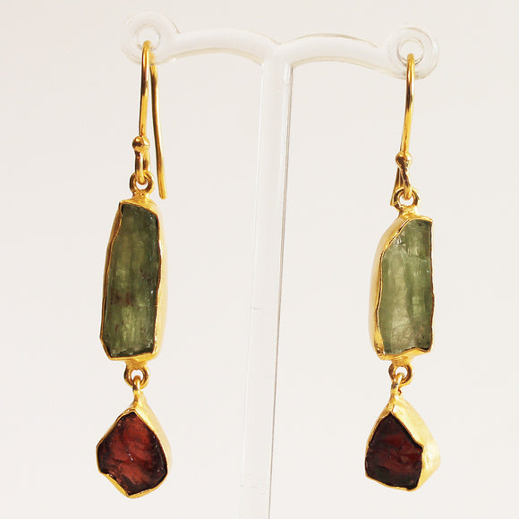24ct Gold Plated Semi Precious Rough Cut Green Kyanite and Red Garnet Stone Drop Earrings - Cherish Me Jewellery - Melbourne Australia