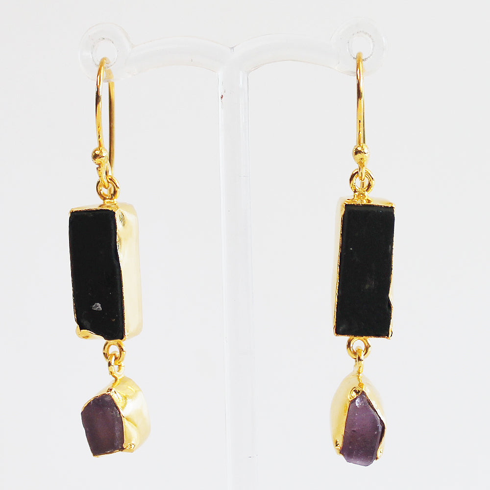 24ct Gold Plated Semi Precious Rough Cut Black Tourmaline and Purple Amethyst Stone Drop Earrings - Cherish Me Jewellery - Melbourne Australia