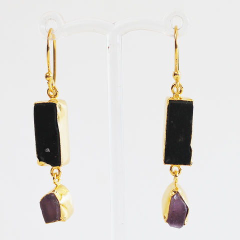24ct Gold Plated Semi Precious Rough Cut Black Tourmaline and Purple Amethyst Stone Drop Earrings