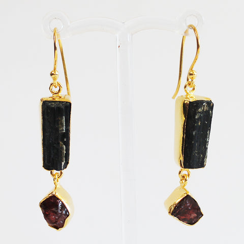 24ct Gold Plated Semi Precious Rough Cut Black Tourmaline and Red Garnet Stone Drop Earrings