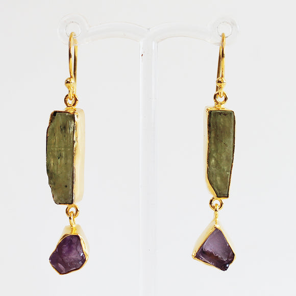 24ct Gold Plated Semi Precious Rough Cut Green Kyanite and Purple Amethyst Stone Drop Earrings - Cherish Me Jewellery - Melbourne Australia