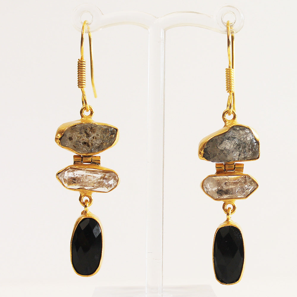 24ct Gold Plated Semi Precious Rough Cut Hermiker Diamond and Black Onyx Stone Drop Earrings - Cherish Me Jewellery - Melbourne Australia