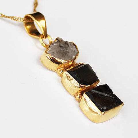 24ct Gold Plated Semi Precious Stone Rough Cut Herkimer Diamond and Smokey Quartz Pendant - Cherish Me Jewellery - Melbourne Australia