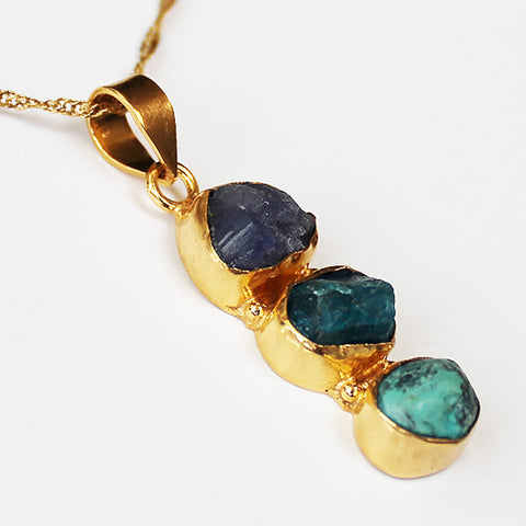 24ct Gold Plated Semi Precious Stone Rough Cut Tanzanite, Apatite and Tibet Turquoise Pendant - Cherish Me Jewellery - Melbourne Australia