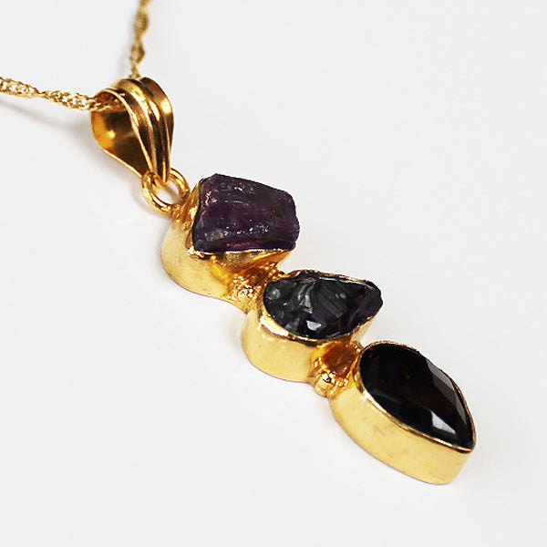 24ct Gold Plated Semi Precious Stone Rough Cut and Faceted Purple Amethyst Pendant - Cherish Me Jewellery - Melbourne Australia